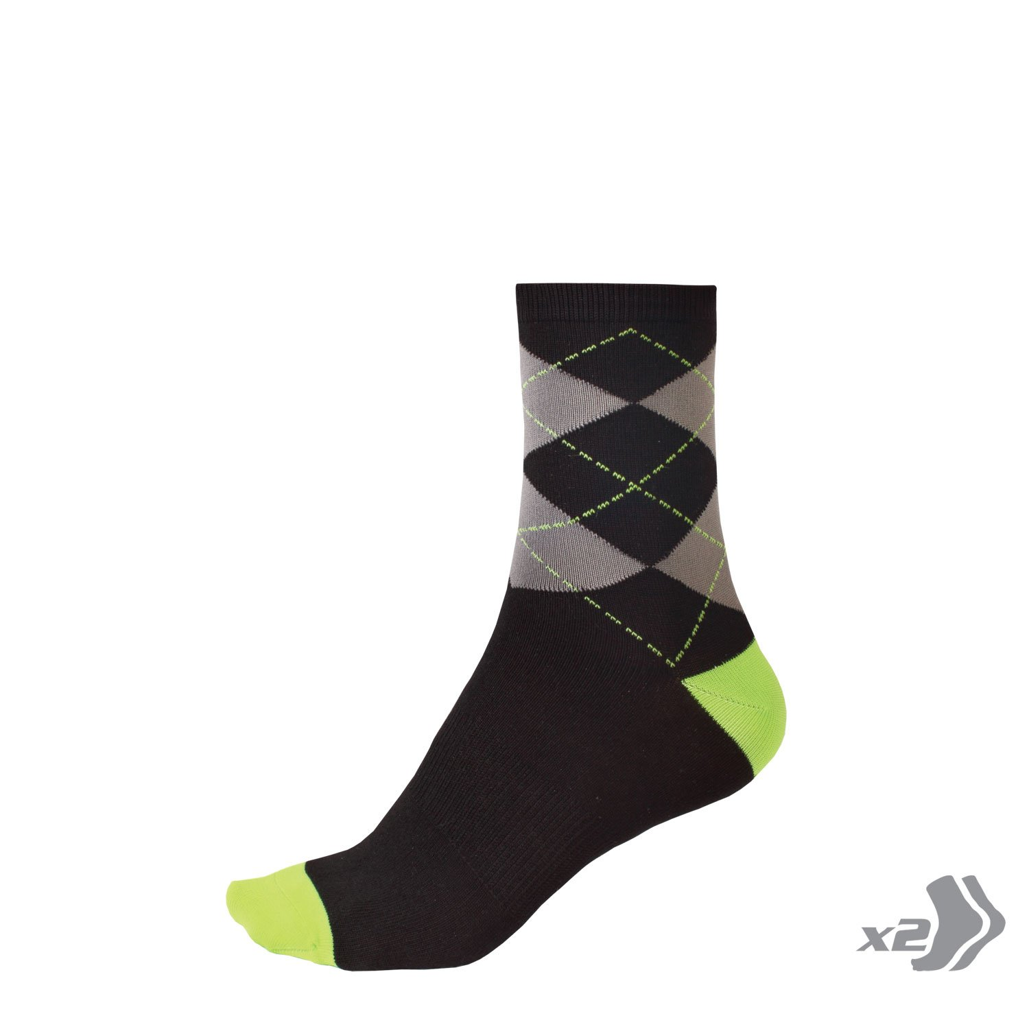 Endura Argyll Cycling Sock Twin Pack L//XL Hi Viz Green