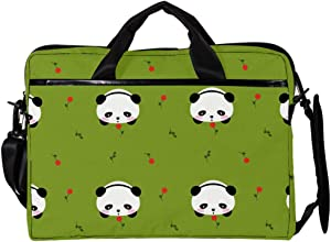 Cute Bear Kawaii Mochi Panda Flower Pattern Laptop Messenger Bag Zipper Notebook Computer Sleeve Case Compatible 14-15.4 Inch Laptop