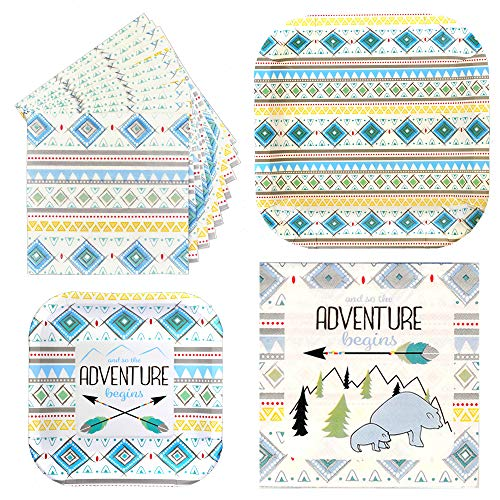 - Havercamp Adventure Begins Boy Party Bundle | Dinner & Dessert Plates, Luncheon & Beverage Napkins | Great for Baby Shower, Gender Reveal Party, Baby Boy Celebration