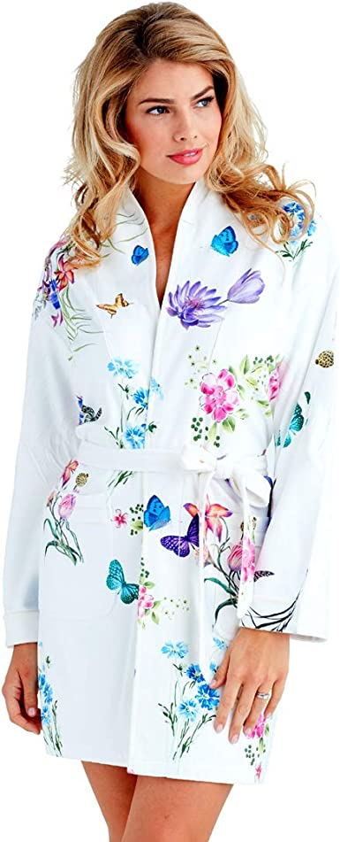 Blue Butterflies Microfiber Short Robe in Pastel Colors Wrap Up by VP