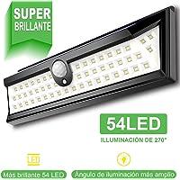 Luz solar exterior con 54 LED, iluminación 270°, para jardín, con sensor de movimiento, impermeable IP64, para piscina, patio y chimenea