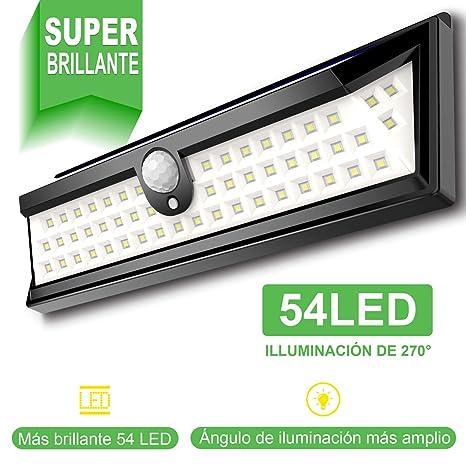 Luz solar exterior con 54 LED, iluminación 270°, para jardín, con sensor