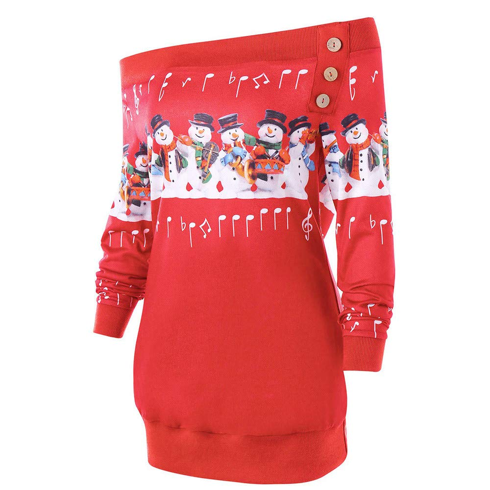❤ Sudadera para Mujer Feliz Navidad, más el tamaño del suéter Deer Elk Camiseta Estampada para el Cuello Oblicuo Fuera del Hombro Abrigo Absolute: ...