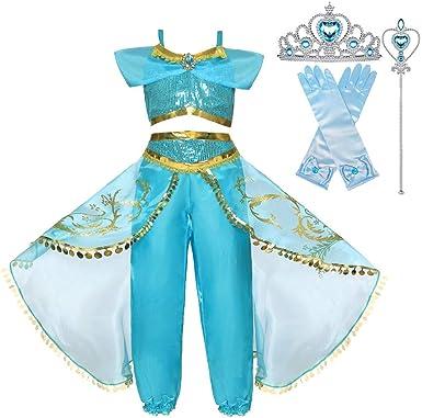 BaZhaHei Niña Aladdin Princesa Halloween Jasmine Disfraz Tops ...