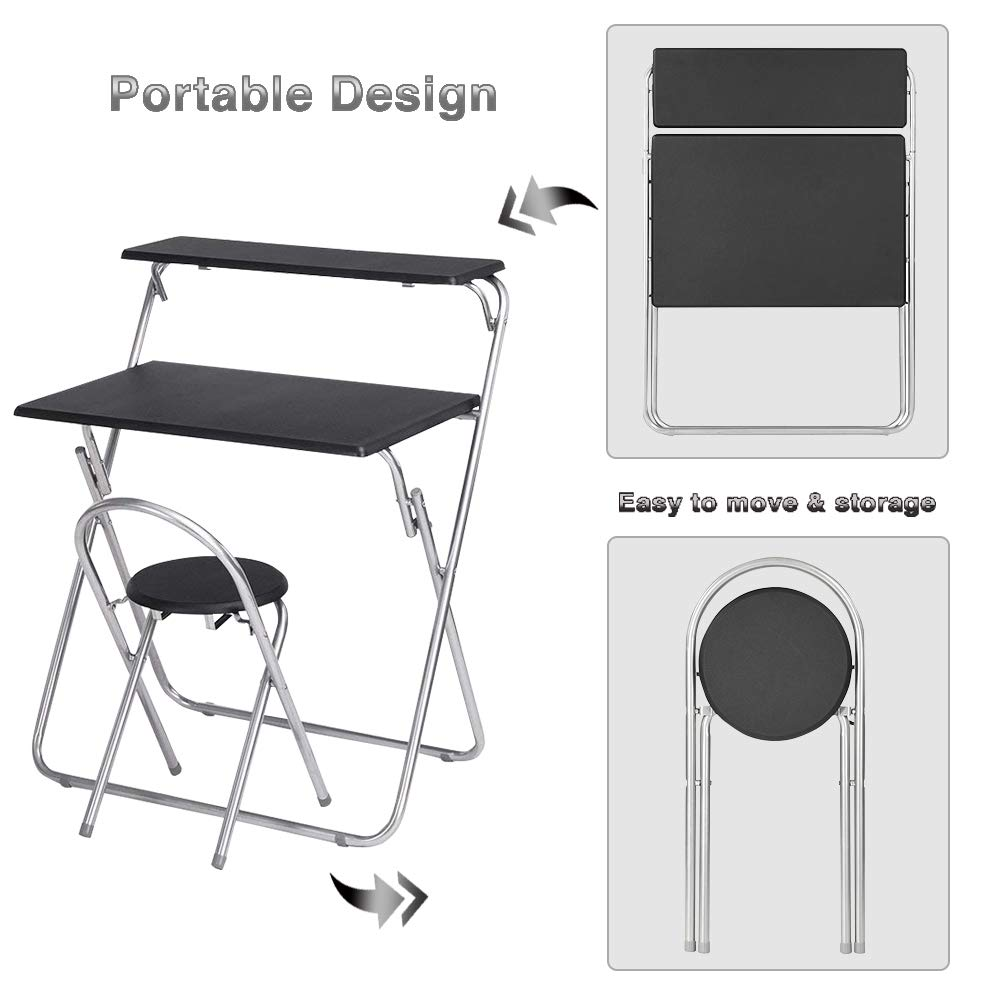 Aingoo Folding Computer Desk Chair Set 30 Small Writing Table For Home Office Teens Student Space Saving Mobile Workstation With 2 Shelves Black