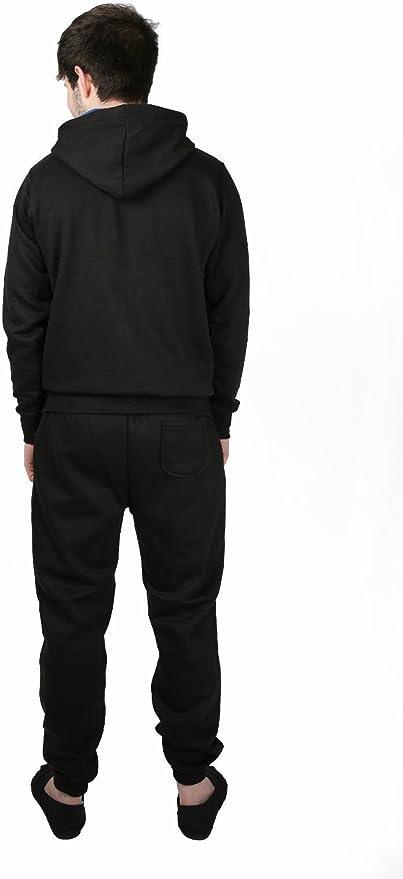 tinta unita Nero XL Tuta da uomo in pile con cappuccio