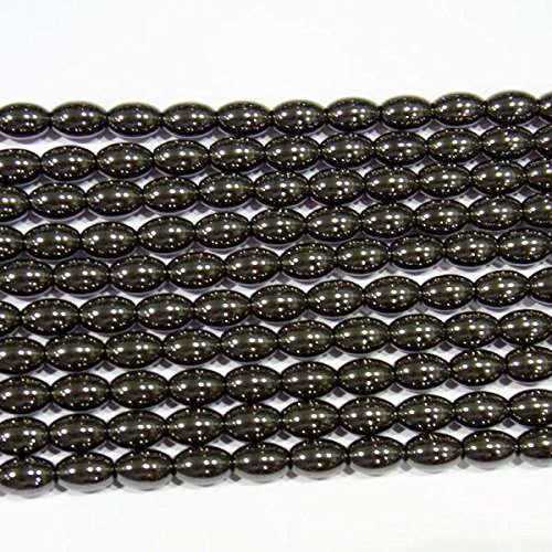 TheTasteJewelry 6x12mm Rice Natural Magnetic Hematite Beads 15 inches 38cm Jewelry Making Necklace (8x12mm Bead)