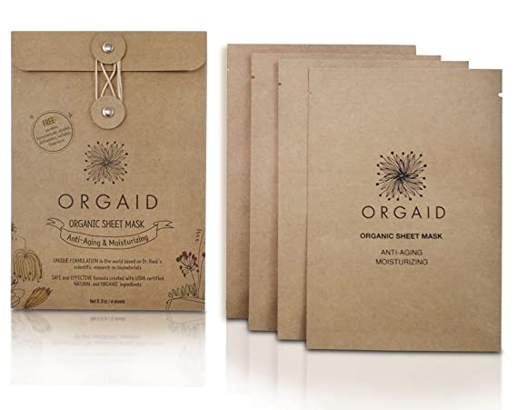 ORGAID Organic Sheet Mask | Made in USA (Anti-aging & Moisturizing, pack of 4) best sheet masks