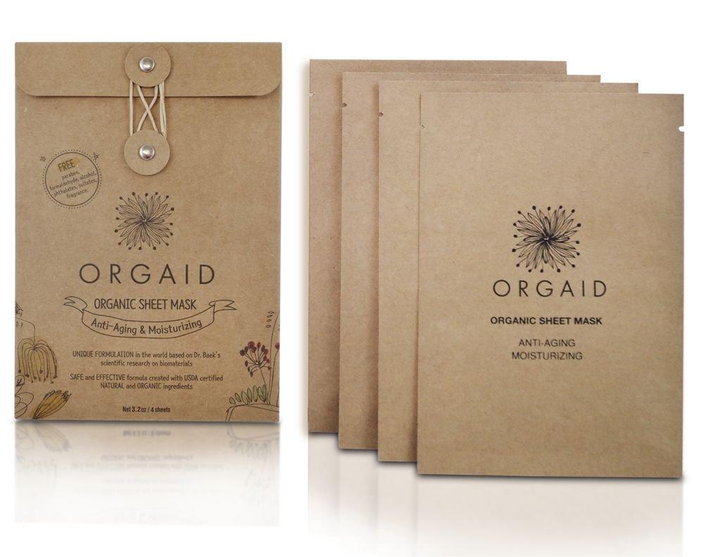 ORGAID Organic Sheet Mask | Made in USA (Anti-aging & Moisturizing, pack of 4)