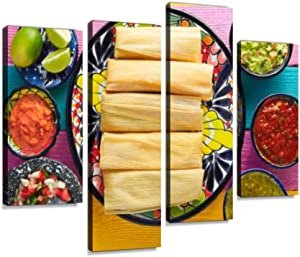 Canvas Wall Art Painting Pictures Tamale with Corn Leaf and sauces Guacamole Modern Artwork Framed Posters for Living Room Ready to Hang Home Decor 4PANEL