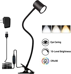 Clamp Desk Lamp, Eye Protection Clip-on Reading Light with 3 Color Modes, 10 Brightness Dimer, 360 ° Flexible Gooseneck Book Light, AC Adapter Included