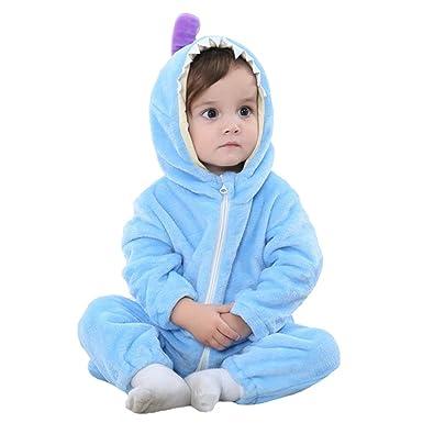 27d40f21d Amazon.com  Fairy Baby Unisex Baby Flannel Onesie Hooded Animal ...
