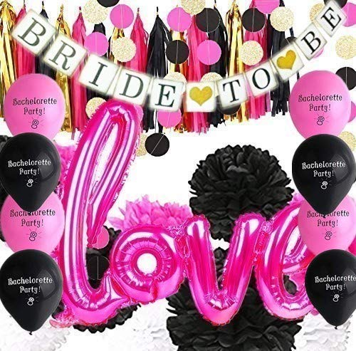 Bachelorette Party Decorations - 30pcs Hot Pink and Black Tissue Paper Pom Poms Circle Garland Tassel Bunting Banner Bride To Be Banner Love Balloons Set for Engagement Party Bridal Shower Decorations