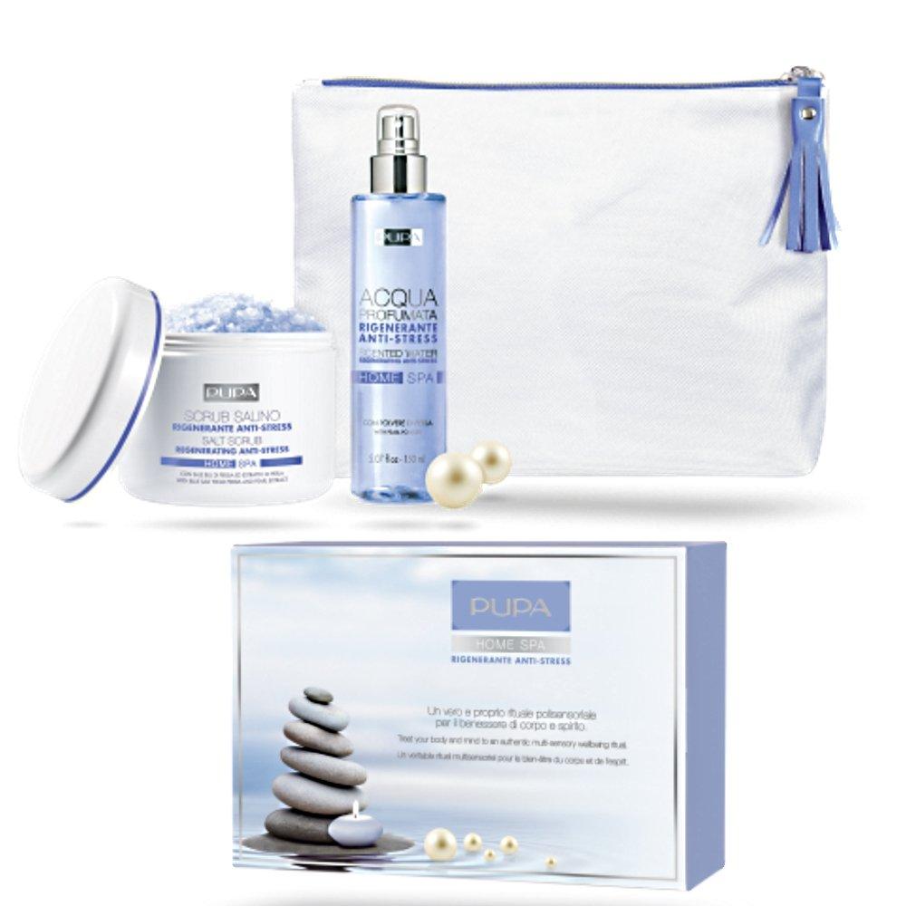 Kit Home Spa Rigenerante Antistress Scrub Salino 350 gr + Acqua profumata 150 ml - Idea Regalo Pupa