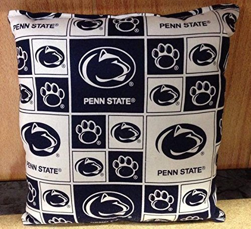 """Penn State Pillow PSU Pillow NCAA Football Pillow HANDMADE In USA Pillow is approximately 10"""" X - 10 Square Penn"""