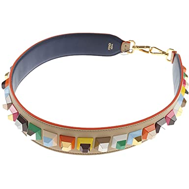 bb003556fddf Image Unavailable. Image not available for. Color  Fendi Women s Strap You  Multicolored Studded Leather Shoulder ...