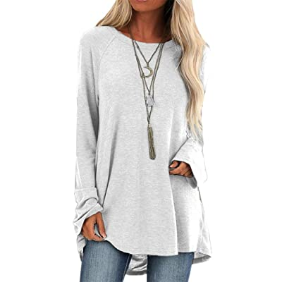 Fessceruna Women Long Sleeves Tunic Tops Fall Round Neck Oversized Casual Plain Swing Shirts at Women's Clothing store