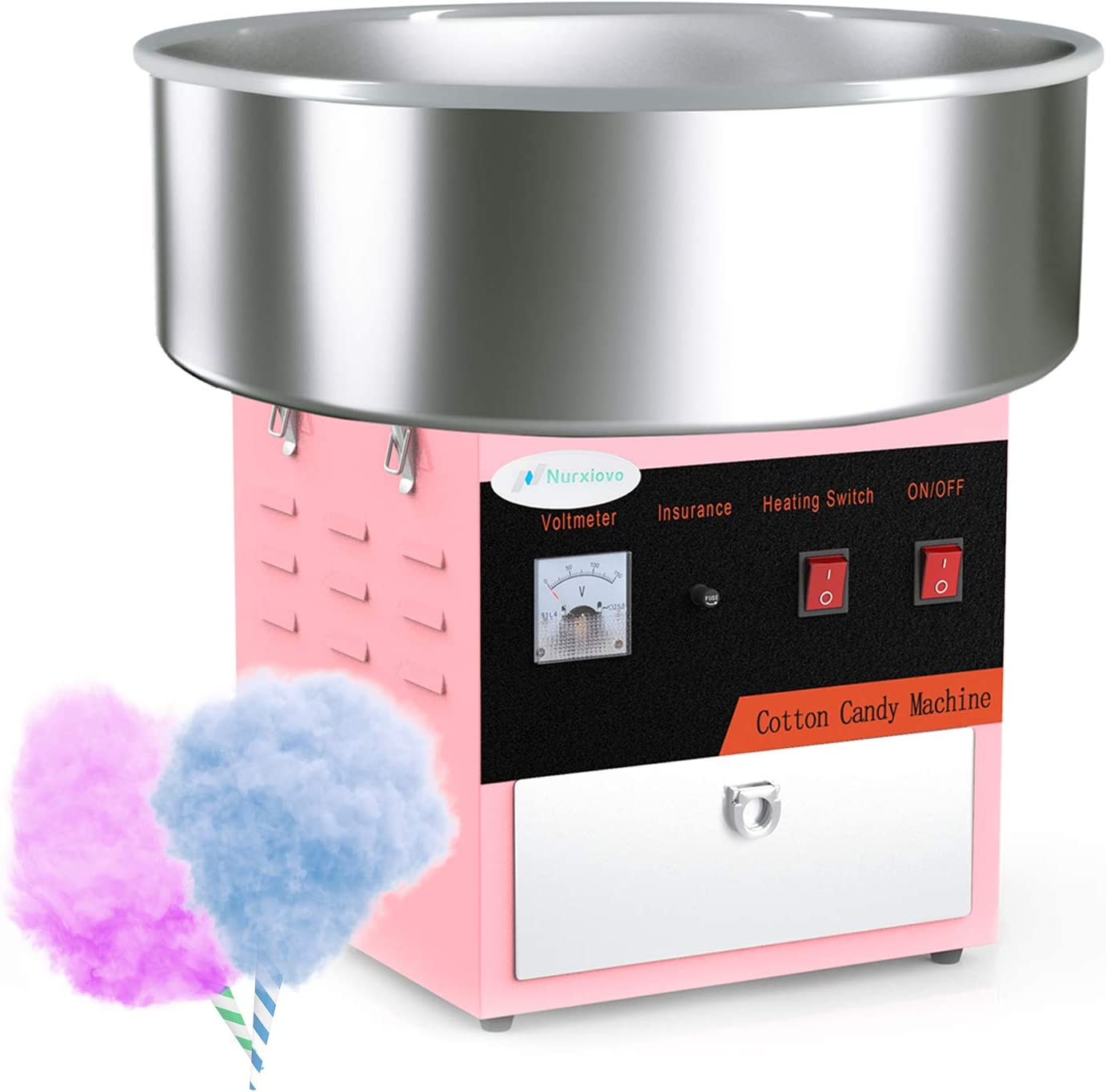 Cotton Candy Machine w//Cover Party Floss Maker Commercial 1030w Stainless Steel