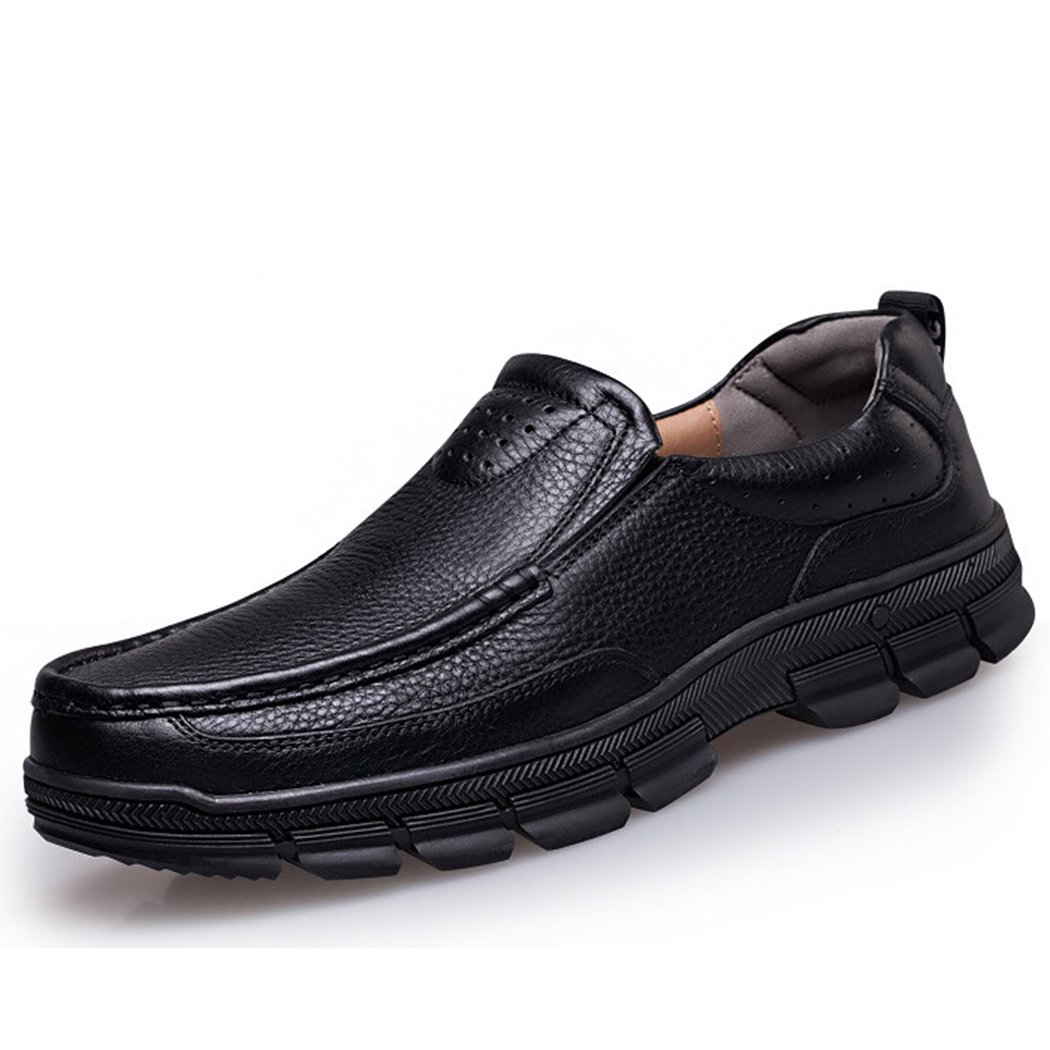 Autumn Melody Fashion Casual Business Genuine Leather Large Size Men Shoes Size 13 US Black