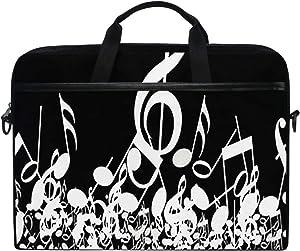 "SLHFPX Laptop Bag Black and White Musical Notes 14"" 15"" Laptop Case Notebook Briefcase Tablet Handbag Sleeve Computer Backpack with Shoulder Strap Handle for Men Women Travel Business School"