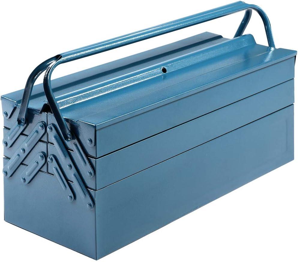 Caja de herramientas grande y vacía de Deuba®, de acero, 5 compartimentos, color azul, 580 x 210 x 220 mm: Amazon.es: Bricolaje y herramientas