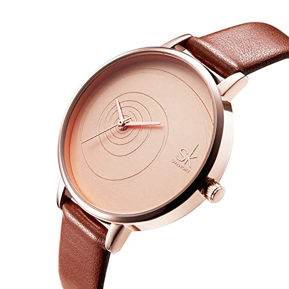 SK Women Watches Leather Band Luxury Quartz Watches Girls Ladies Wristwatch (QQ Brown)