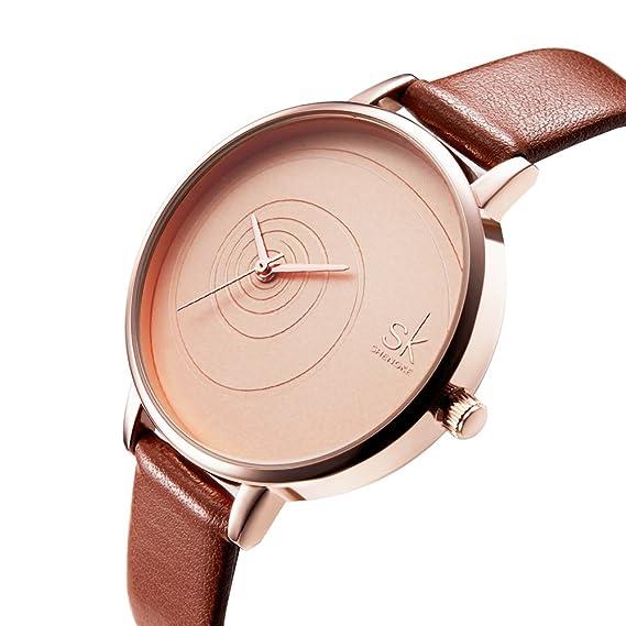 SK Women Watches Leather Band Luxury Quartz Watches Girls Ladies Wristwatch (QQ Brown)