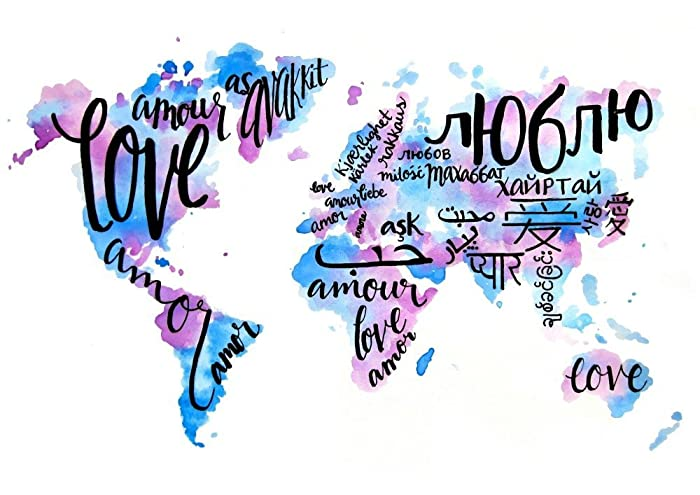 Amazon love quote art print world map painting print travel love quote art print world map painting print travel decor multicultural art gumiabroncs Choice Image