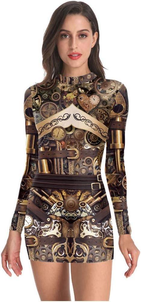 Womens Mini Pencil Dress Ladies Vintage Print Long Sleeve Bodycon Dresses Retro Dress with Back Zip
