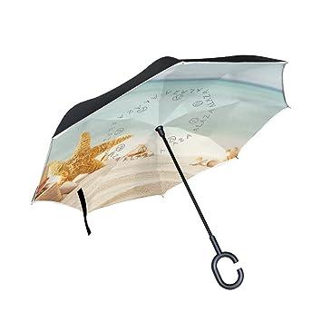 ISAOA Paraguas Grande invertido Resistente al Viento, Doble Capa de construcción, Paraguas Reversible Plegable
