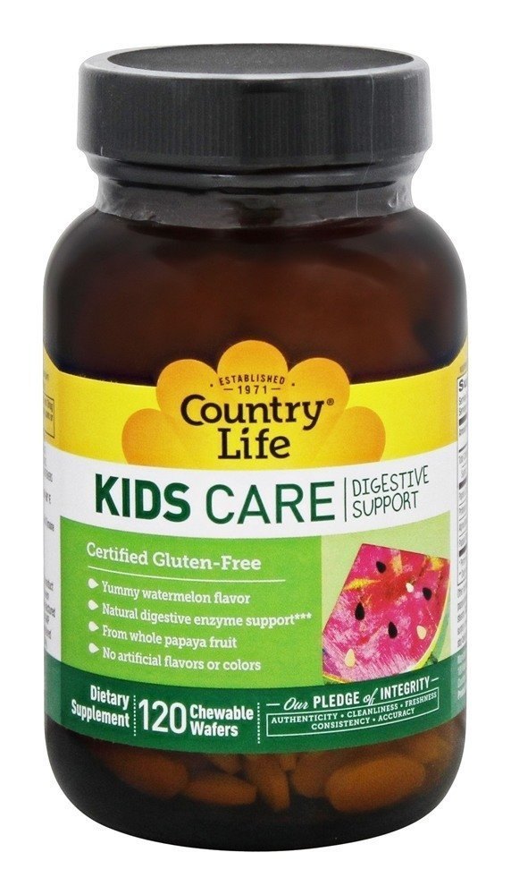 Country Life Kids Care Digestive Support Chewable Wafers Watermelon