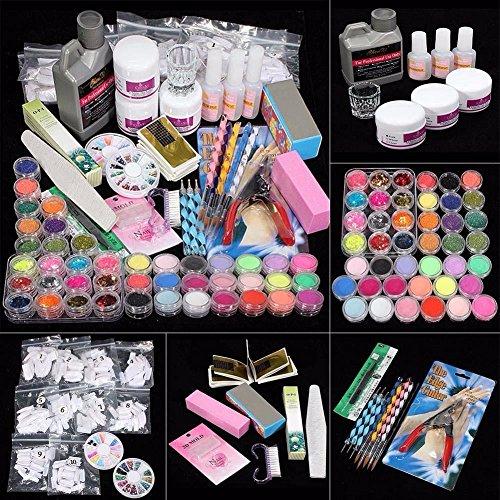 42 Acrylic Nail Art Tips Powder Liquid Brush Glitter Clipper Primer File Set Kit (Colorful)