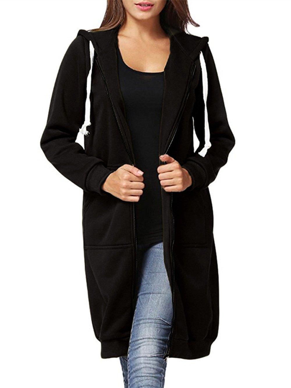 Dongpai Women's Casual Zip Up Hoodie Solid Long Jacket Sweatshirt Outerwear Plus Size,Medium,Black