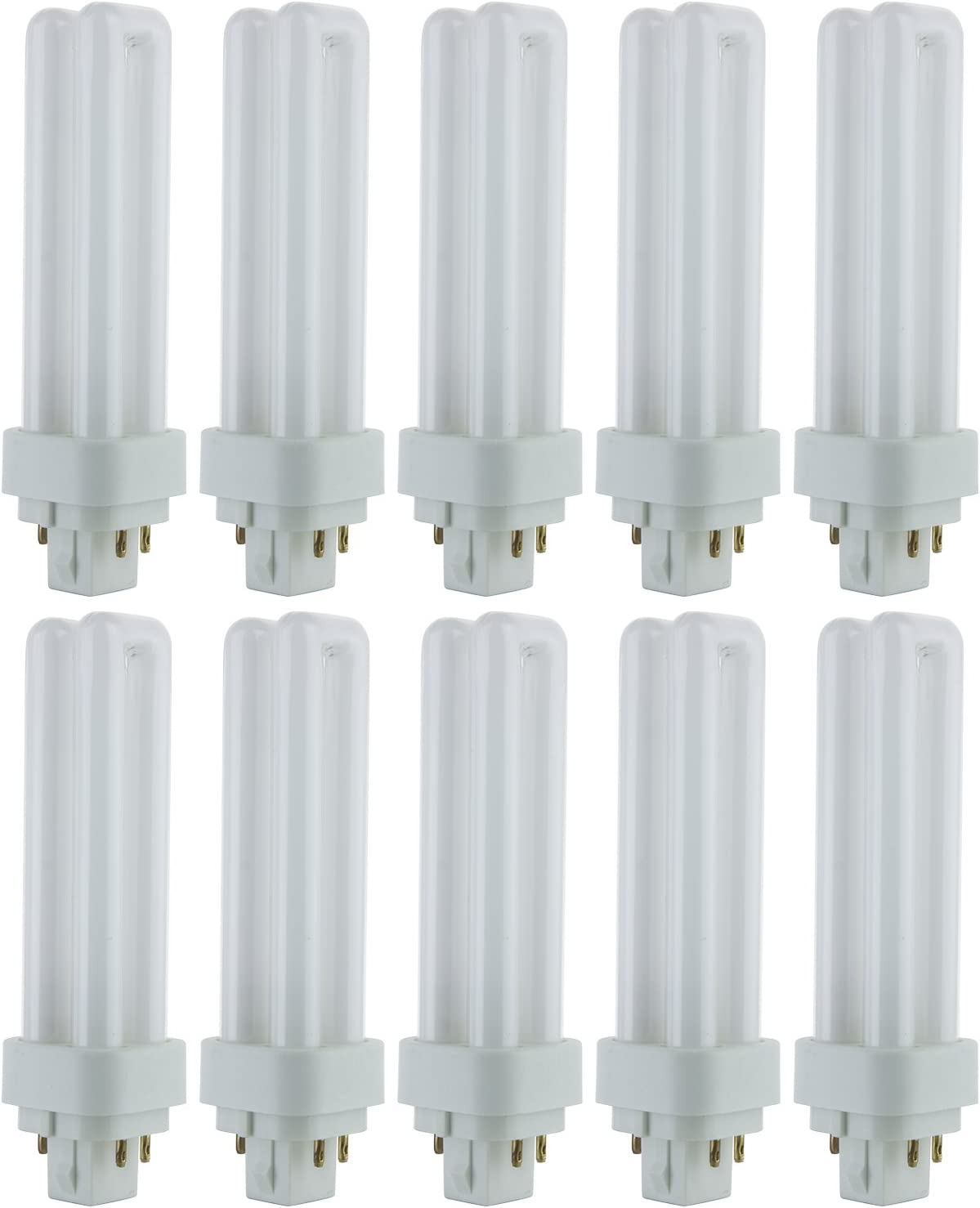 Sunlite PLD13/E/SP41K/10PK 4100K Cool White Fluorescent 13W PLD Double U-Shaped Twin Tube CFL Bulbs with 4-Pin G24Q-1 Base (10 Pack)