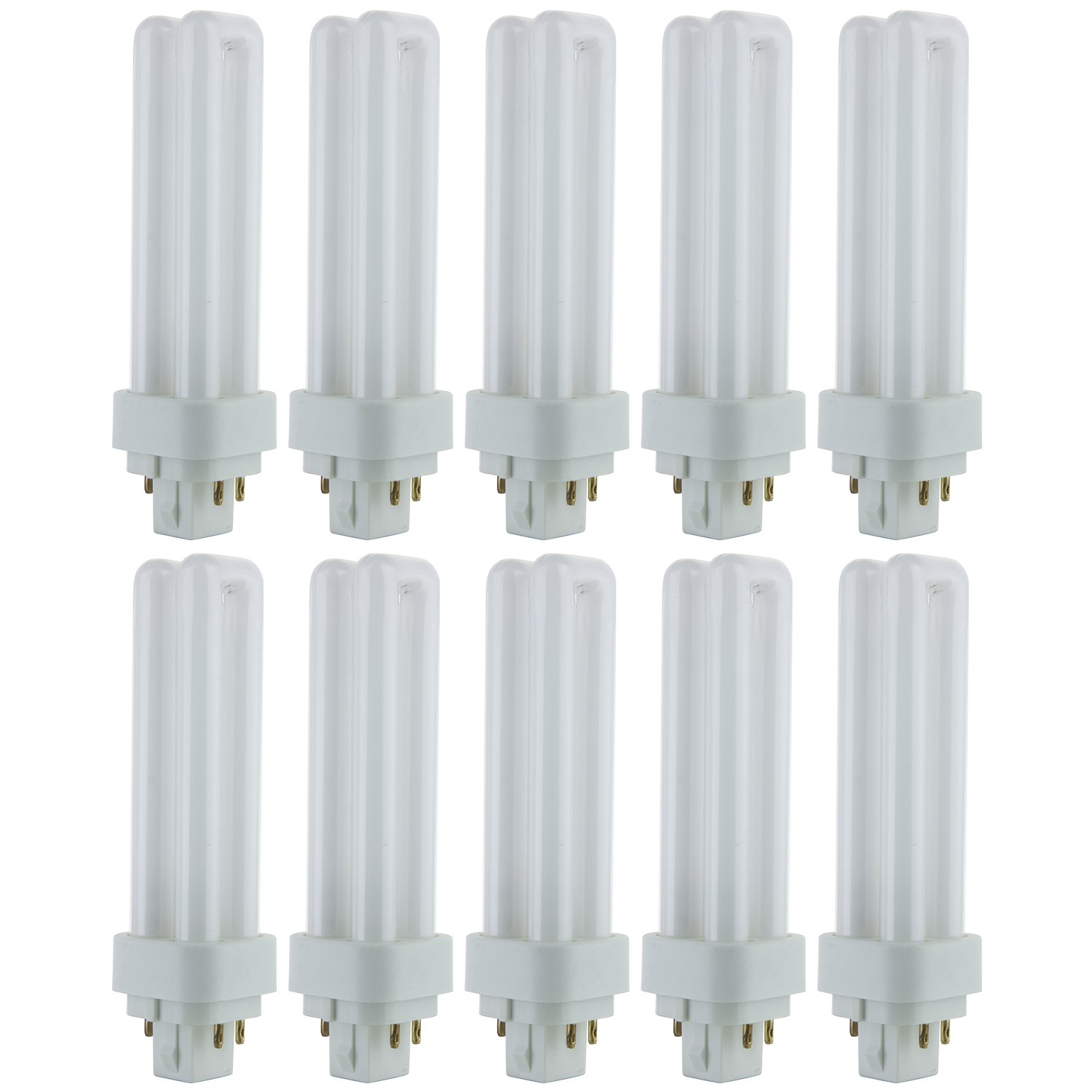 Sunlite PLD13/E/SP50K/10PK 5000K Super White Fluorescent 13W PLD Double U-Shaped Twin Tube CFL Bulbs with 4-Pin G24Q-1 Base (10 Pack)