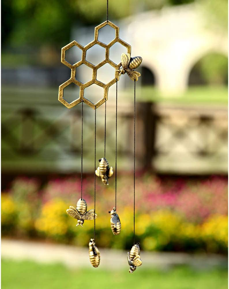 SPI Home Aluminum Bees and Honeycomb Windchime