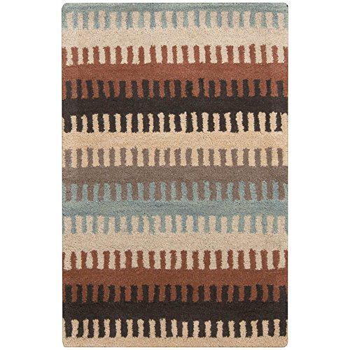 Dick Idol by Surya Santa Fe STF-4023 Transitional Hand Tufted 100% Wool Wheat 2' x 3' Stripes Accent Rug (Wheat Rug Transitional)