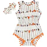 Baby Girl White Arrow Rompers   Kids Outfit Pompom Clothes   with Headband