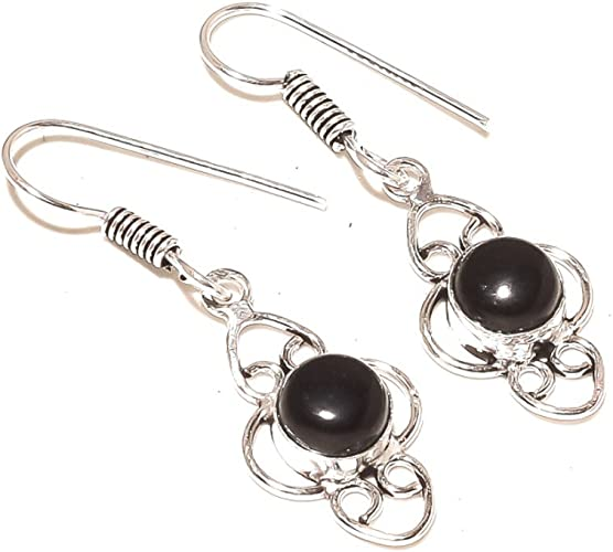 New Jewelry Black Onyx Silver Overlay 5 Gram Earring 1.75
