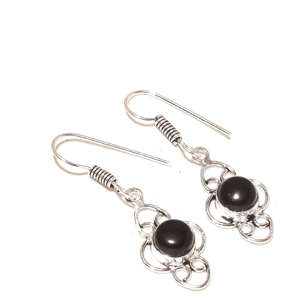 Black Onyx Silver Overlay 5 Gram Earring 1.75 New Jewelry
