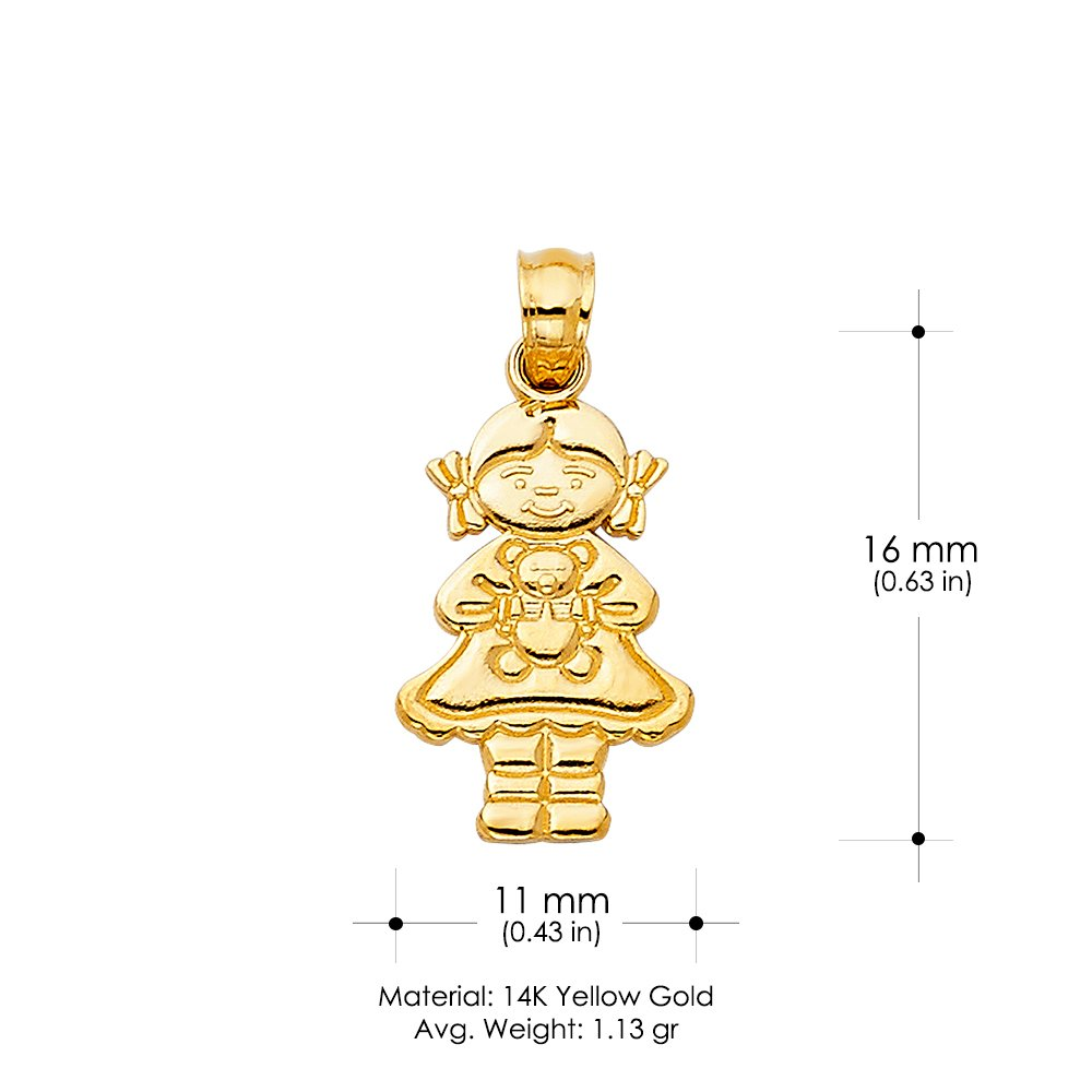 14K Yellow Gold Girl with Doll Charm Pendant For Necklace or Chain