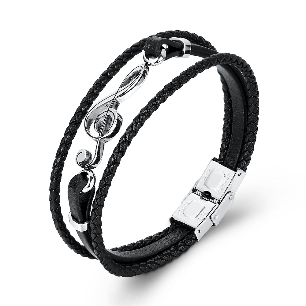 GAGAFEEL Leather Bracelet Braided Woven Wristband Cuff Musical Note Punk Rope Chain Bangles for Men Women