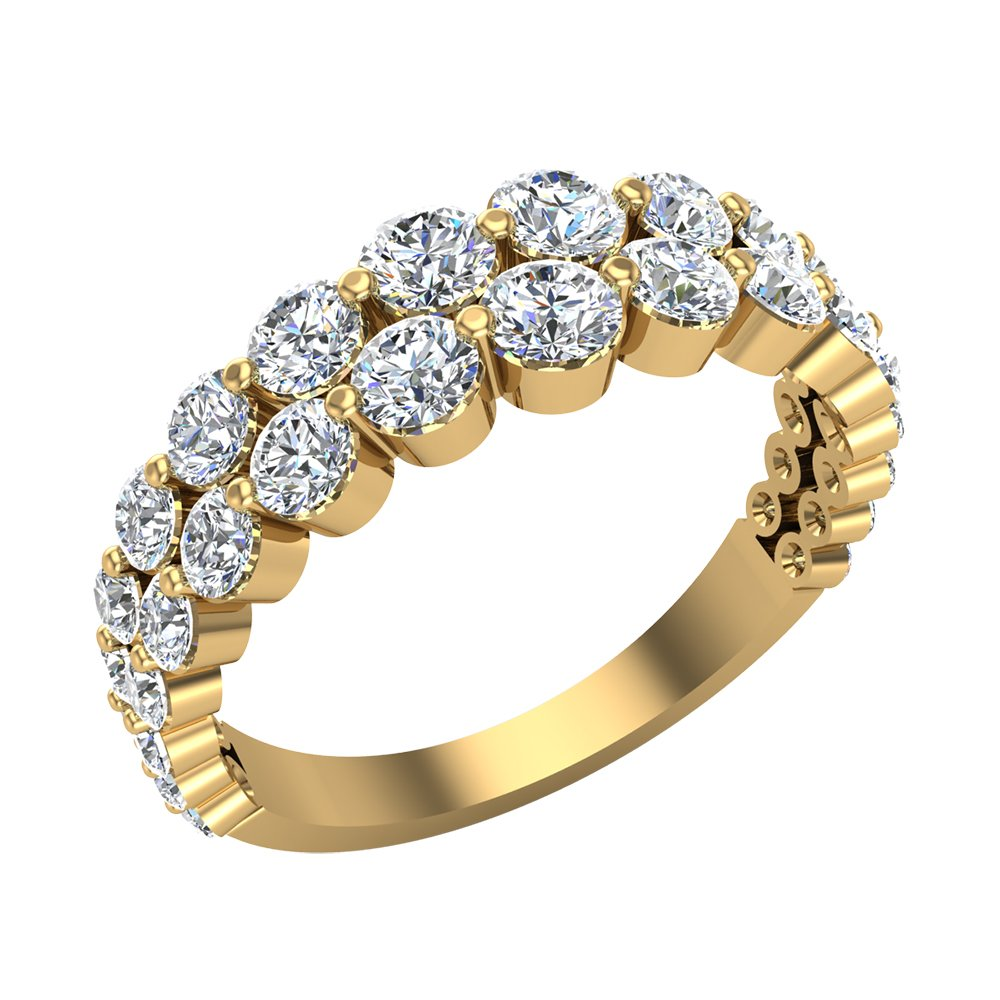 1.67 ct tw Connect the Dots Graduating Diamonds Two Rows Riviera Fashion Band Ring 14K Yellow Gold (Ring Size 6.5)