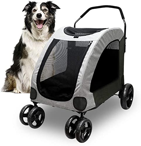 Petbobi Dog Stroller for Large Pet Jogger Stroller for 2 Dogs Breathable Animal Stroller with 4 Wheel and Storage Space Pet Can Easily Walk In Out Travel up to 120 lbs