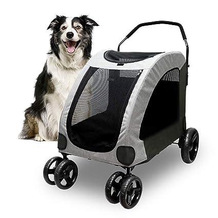 Petbobi 4 Wheel Dog Stroller for Large or 2 Dogs