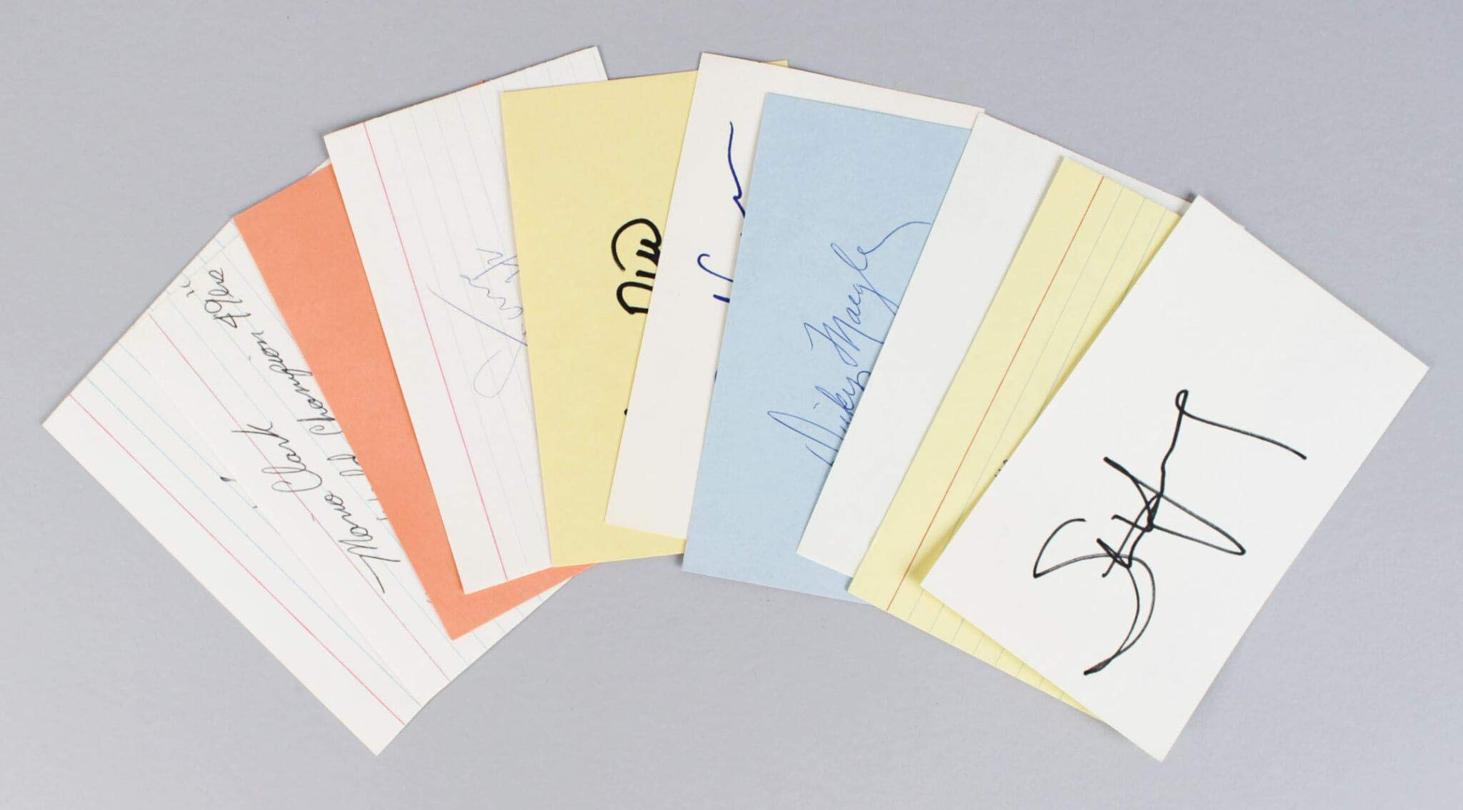49ers Signed Index Cards Lot (9) Ronnie Lott, Steve Young etc. COA JSA Certified NFL Cut Signatures