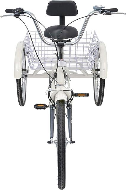 Mophoto [actualizado] Bicicleta de triciclo para adulto Trike Cruise de 60,96 cm 7 velocidades Shimano Derailleur Bicicleta con cesta grande y herramientas de ...