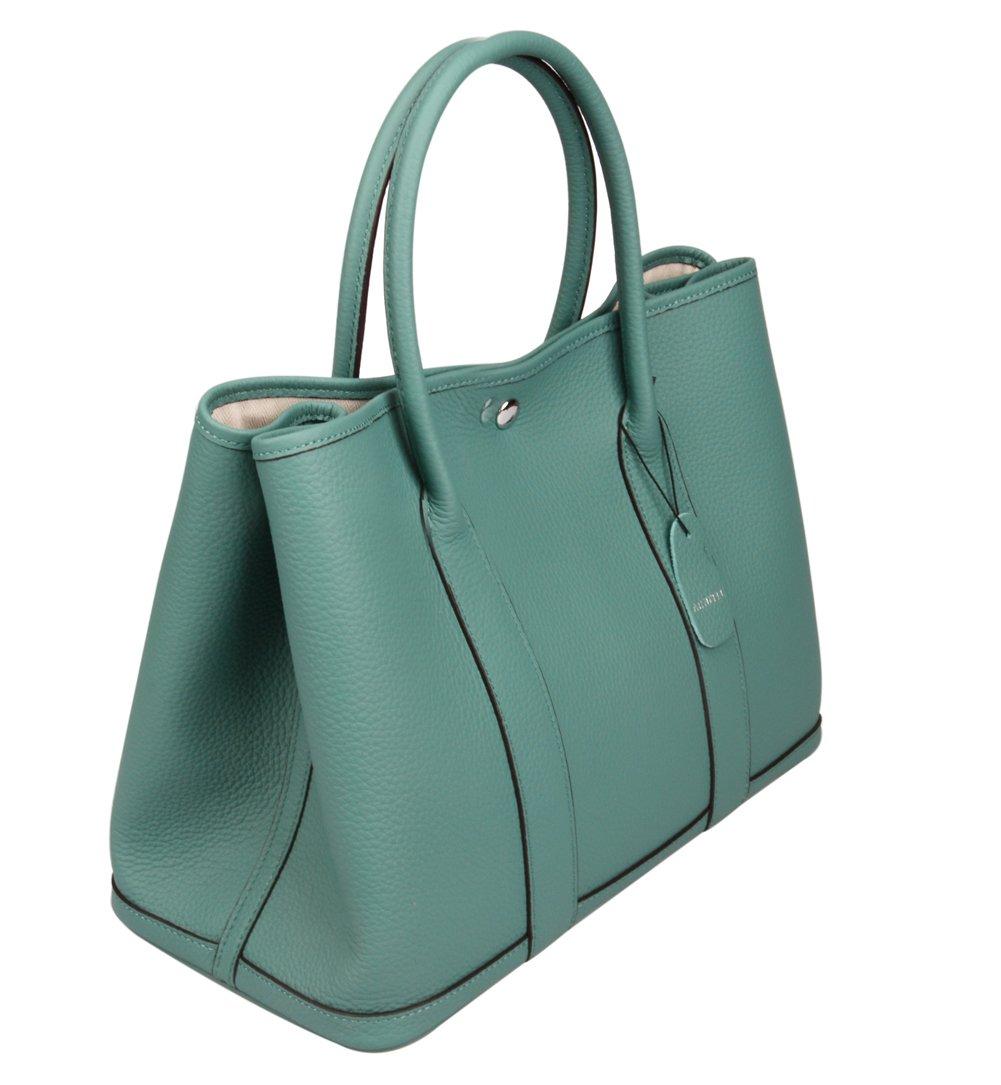 Ainifeel Women's Genuine Leather Top Handle Handbag Shopping Bag Tote Bag (Sea Green)