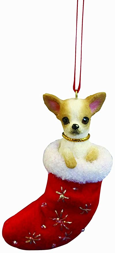 """Chihuahua Christmas Stocking Ornament with """"Santa's Little Pals""""  Hand Painted ... - Amazon.com: Chihuahua Christmas Stocking Ornament With"""