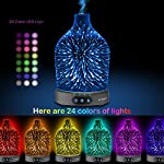 Sztrokia 3D Glass Essential Oil Diffuser,200ml Aroma Mist Cool Humidifier Metal Shell Base,Adjustable Mist Mode,Waterless Auto Shut-Off,Timer Colorful LED Lights Changing Office,Home,Yoga